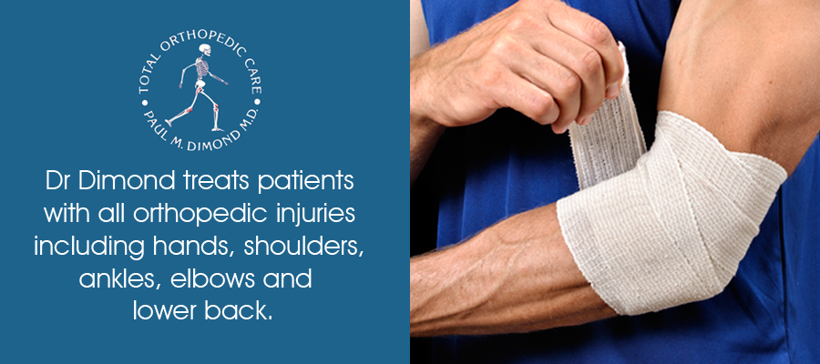Dr Dimond treats patients with all orthopedic injuries including shoulders, hands, elbows, ankles and lower back